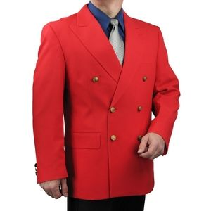 Mens Classic Fit Double-Breasted Blazer-Red